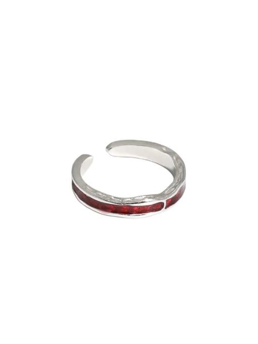 Platinum [red] 925 Sterling Silver Enamel Irregular Vintage Band Ring